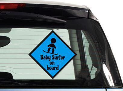 Baby surfer on board