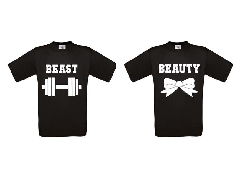 T-shirt Beauty and beast (σετ 2τεμ)