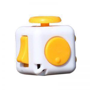 Anti Stress Fidget Cube Αγχολυτικός Κύβος Κίτρινο Λευκό