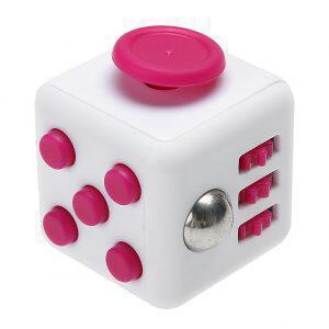 Anti Stress Fidget Cube Αγχολυτικός Κύβος Ροζ Λευκό